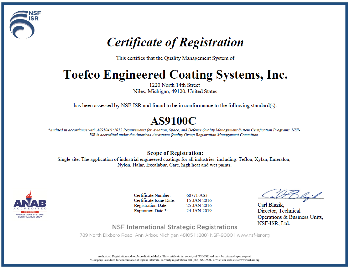 Toefco certifications as 9100 certified 1betcityfo Choice Image